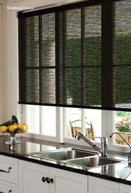 This window treatment works great in this kitchen. I love how it ties into the color of the counters.