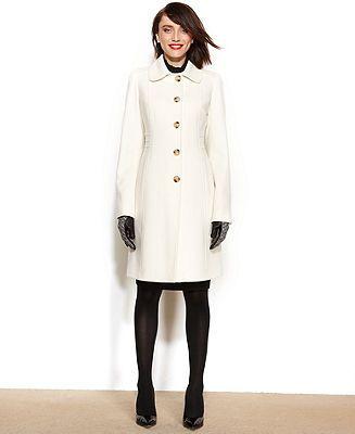 Anne Klein Wool-Cashmere-Blend Club-Collar Walker Coat - Coats
