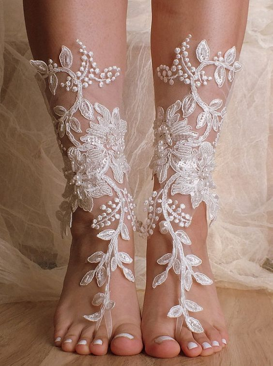 Unique Lace Sandals Ivory Beach Wedding Barefoot Sandalshand Embroidered Belly Dance Shoes