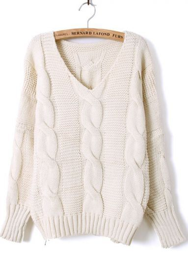 Beige Batwing Long Sleeve V-neck Cable Sweater pictures