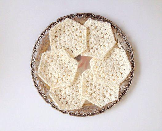 Ivory Cream Crochet Coaster Set of 6 coaster kitchen by allapples, $17.90