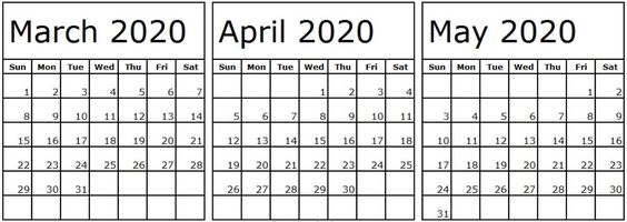 Calendar March April May 2020 Template