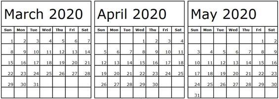Calendar March April May 2020 Template