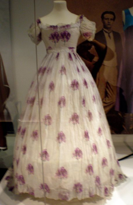 Young lady's purple print dress for summer, 1860s.