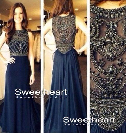 Dark Blue Chiffon A-line Beaded Long Prom Dresses, Evening Dresses ...