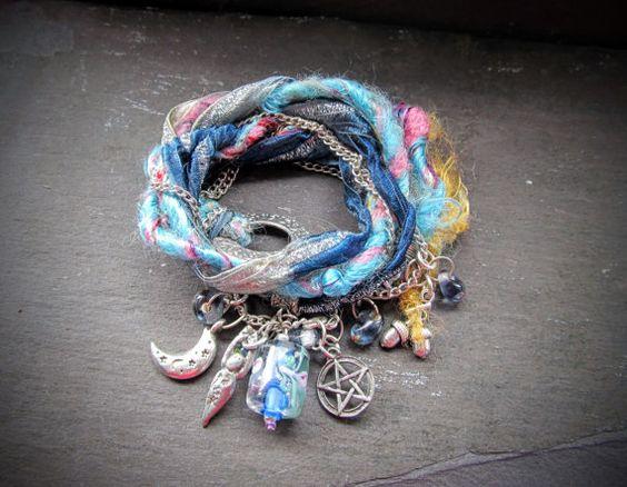 Boho gypsy hippie wrap ribbon bracelet moon goddess by OhYesYes