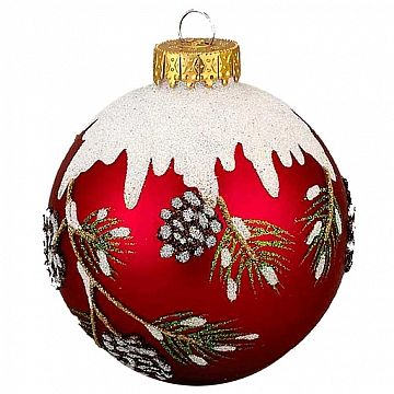 Red Glittered Ball w Snowy Pinecone Branch Christmas Ornaments 3pc Set