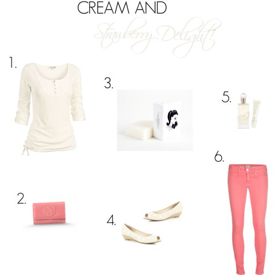 """""""Cream and Strawberry Delight!"""" by ladygatsby on Polyvore"""