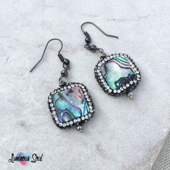 Abalone Shell Black Pavé Crystal Dangle Earrings, Square Drop Bead, Fancy Natural Modern Trends, Rainbow Sparkly Gunmetal