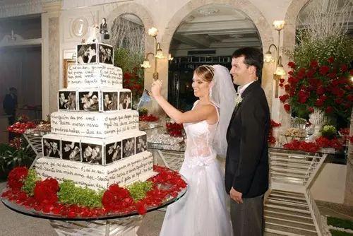Bolo de casamento com fotos