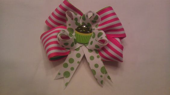 Cupcakes are Fun on Pinwheels Hair Bow by AmalieBowtique on Etsy, $4.99