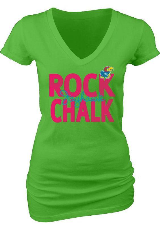 Kansas Jayhawks T-Shirt- Womens Neon Green V-Neck T-Shirt http://www.rallyhouse.com/kansas-jayhawks-womens-green-rock-chalk-v-neck-t-shirt-5702548?utm_source=pinterest&utm_medium=social&utm_campaign=Pinterest-KUJayhawks $21.99