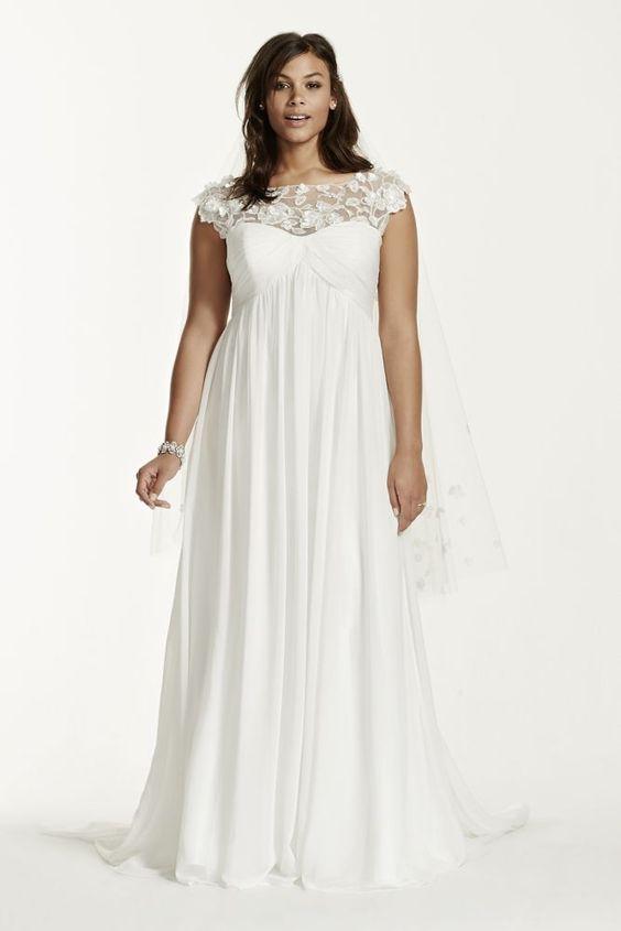 cap sleeve chiffon a line plus size wedding dress soft With 16w wedding dress