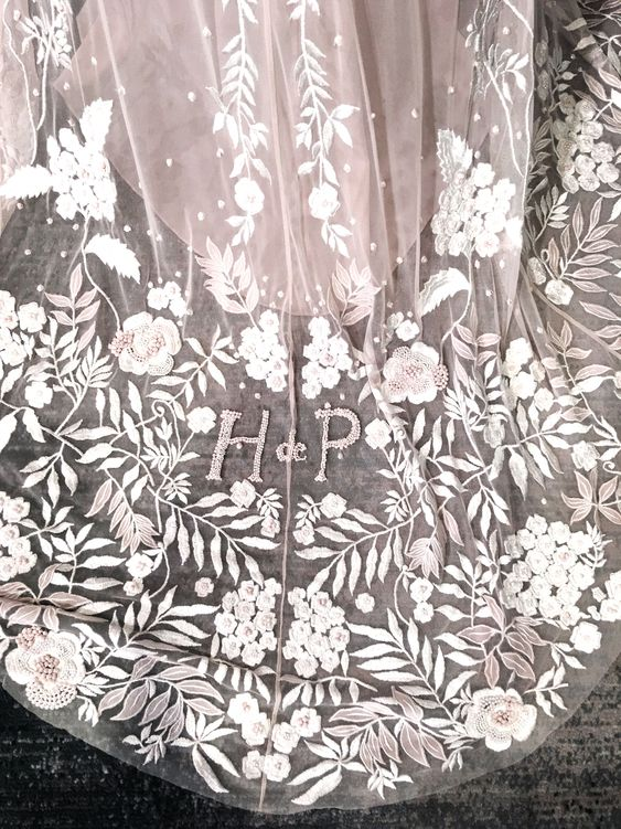 Wisteria (Antique Rose Water Personalised Veil)- Hermione de Paula, Spring 19 #newyorkbridalfashionweek#newyorkbridalfashionweekspring19 #wedding #weddingdress #weddinggown #bride #bridal #weddingstyle #weddinginspiration #weddingfashion #weddingdetails #whitegown #floralpatterns #flowerygown #bespoke #bespokeweddinggown #hermionedepaula #floralgown #bridalcollection #HdePbridal#handmade #luxurybridal #sayyestothedress #couture #pieceofart #highestquality #bridalembroidery#floral#elegant