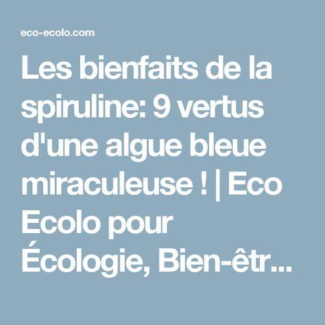 Les bienfaits de la spiruline: 9 vertus d'une algue bleue miraculeuse ! | Eco Ecolo pour Écologie, Bien-être Bio et Médecine Alternative