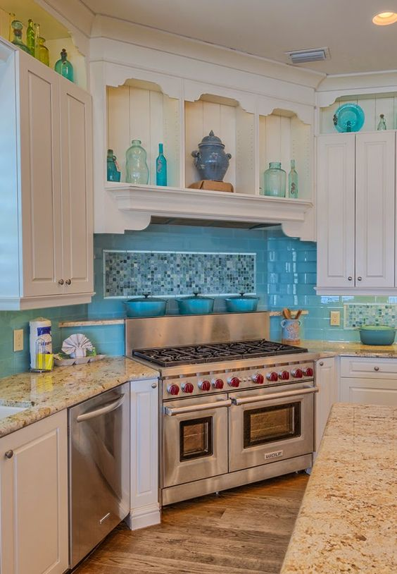 turquoise backsplash mary messer designs more house of turquoise beach