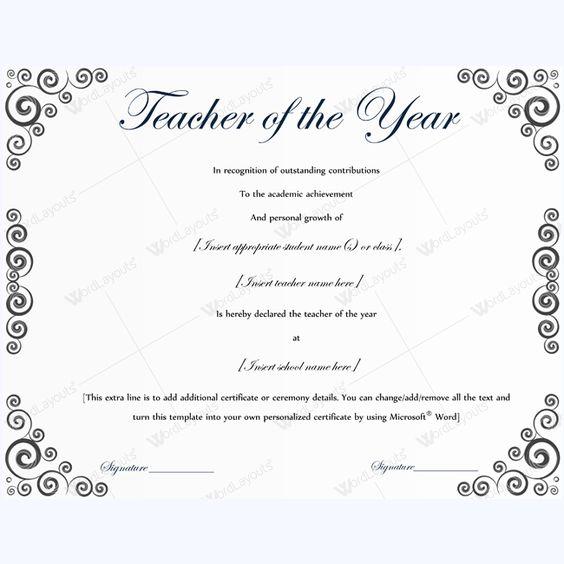 13 best Teacher of the Year Award Certificate Templates images on - microsoft certificate templates