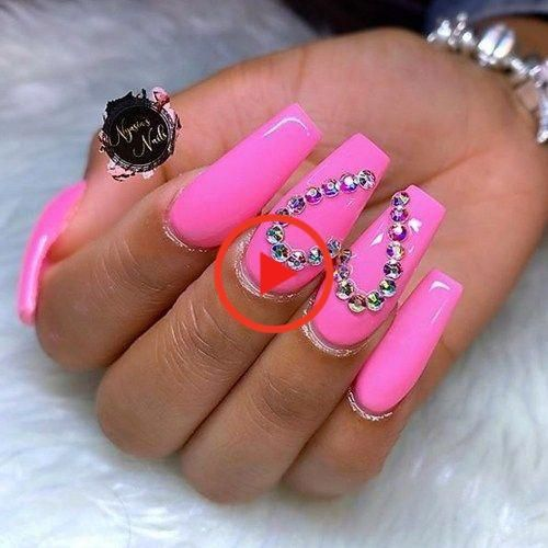 Hot Pink Coffin Acrylic Nails Valentines Day Nail Designs To Fall In Love With Valen In 2020 Valentine S Day Nail Designs Pink Acrylic Nails Nail Designs Valentines