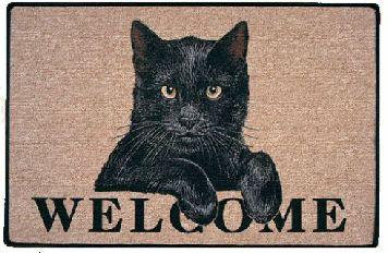 Black Cat Yellow Eyes Welcome Doormat