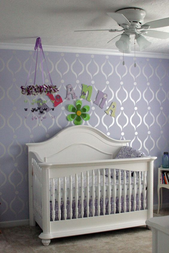 Lavender Paint With Pearl White Paint Stencil Design I