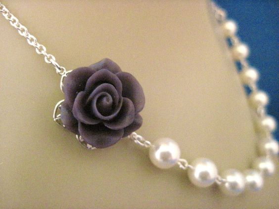 Bridesmaid Necklace Deep Plum Rose and Pearl Wedding Jewelry. $20.00, via Etsy.