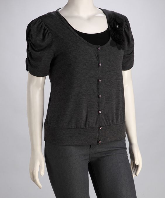 Charcoal Ruched-Sleeve Plus-Size Cardigan