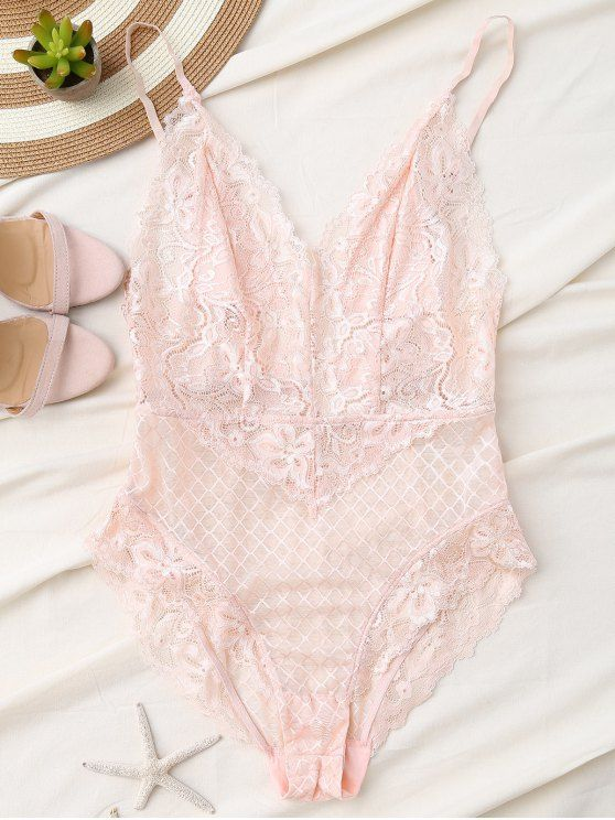 Fishnet Lace High Leg Teddy - LIGHT PINK S