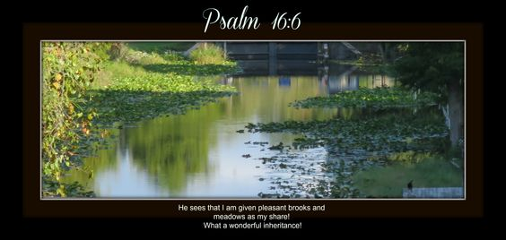 The Lord Himself is my inheritance, my prize. He is my food and drink, my highest joy! He guards all that is mine. He sees that I am given pleasant brooks and meadows as my share! What a wonderful ...