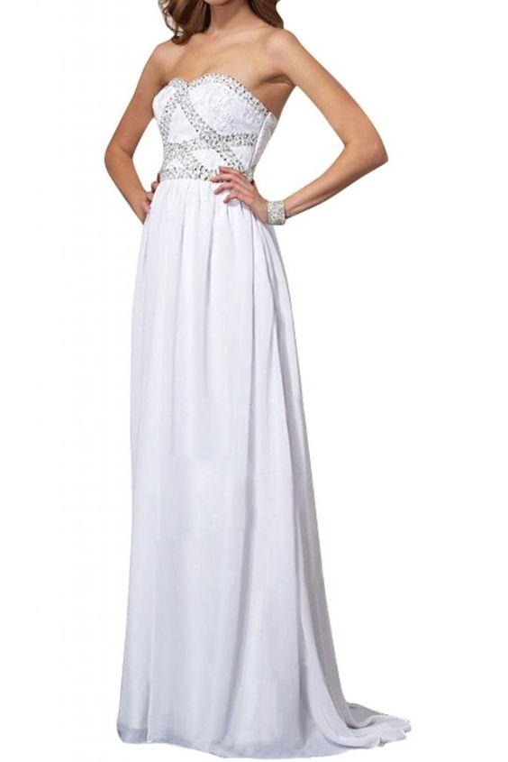 Gorgeous Bride Modisch Traegerlos Empire Chiffon Lang Abendkleid ...