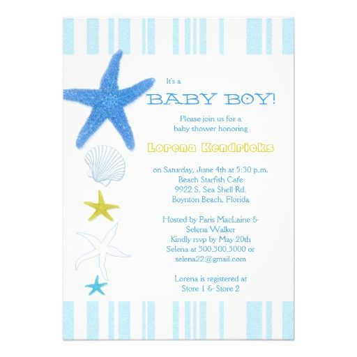 Blue Beach Starfish Striped Baby Boy Baby Shower Announcement