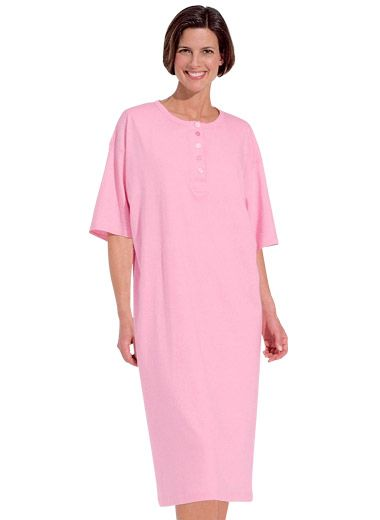 Comfy nightshirts in a package of two. Choose by color set. Cotton knit. Machine wash and dry. Imported.