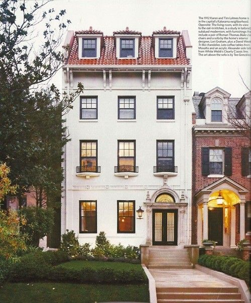 Elegant townhouse.  Looks like Embassy Row in DC.