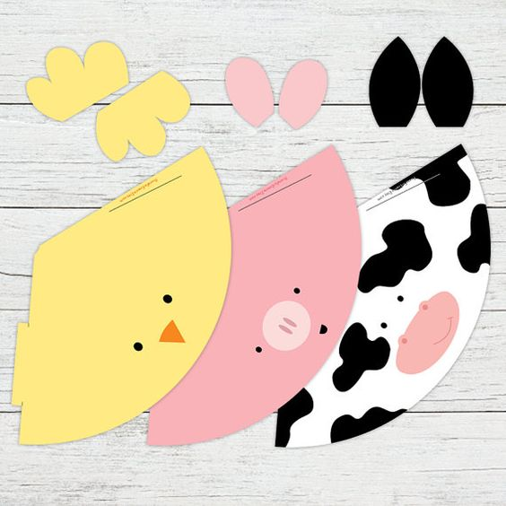 Printable Party Hats - Farm Animal Birthday Party - Cow Hat - Pig ...
