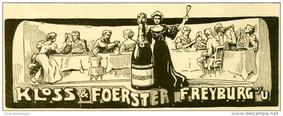 Original-Werbung/ Anzeige 1906 - ROTKÄPPCHEN SEKT / KLOSS & FOERSTER FREYBURG  - ca 180 X 65 mm
