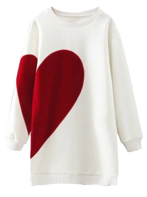 White Heart Print Longline Sweatshirt