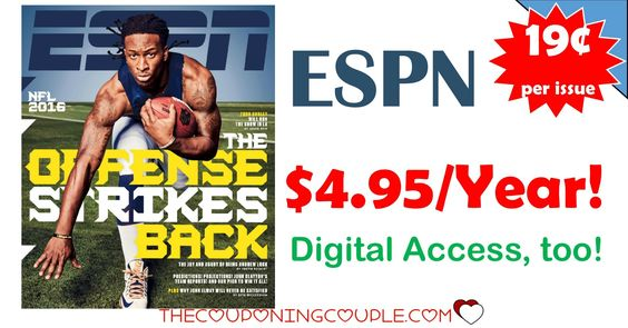 **GREAT GIFT IDEA** ESPN Magazine is only $4.95 right now! Even get digital access at that price! What an AWESOME DEAL!  Click the link below to get all of the details ► http://www.thecouponingcouple.com/espn-magazine-only-4-95/ #Coupons #Couponing #CouponCommunity  Visit us at http://www.thecouponingcouple.com for more great posts!