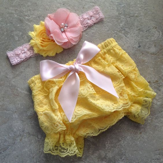 Yellow pink bloomer set Lace Bloomer by BabyLiloHairBoutique