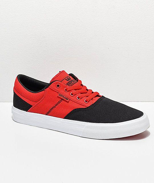 Supra Cobalt Black Risk Red White Skate Shoes Supra Shoes Skate Shoes Shoes