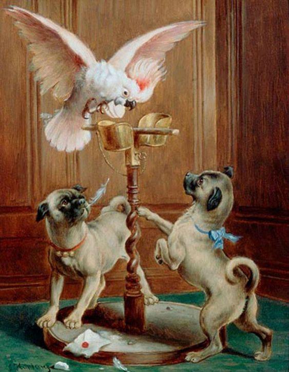 """The Disturbed Cockatoo"" -- by Carl Reichert (1836 -- 1918, Austrian):"