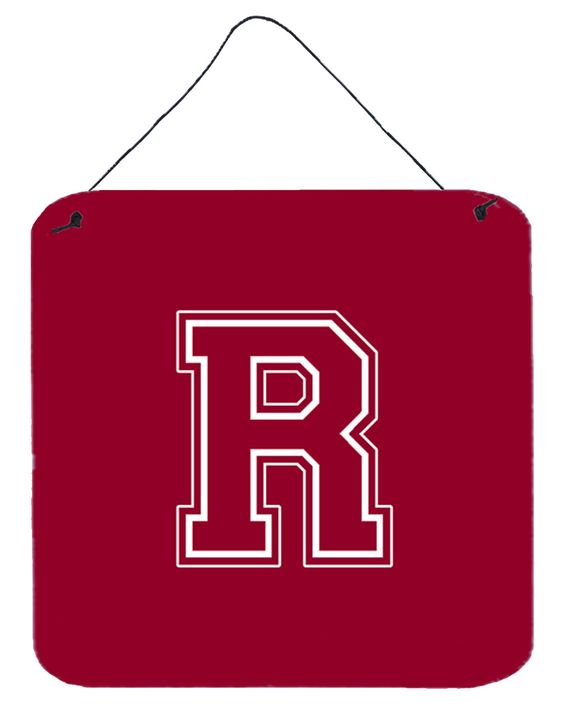 Letter R Initial Monogram - Maroon and White Wall or Door Hanging Prints