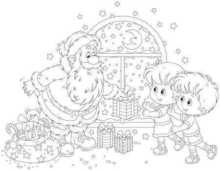 Santa Claus Giving Christmas Gifts To Children Christmas Stamps Coloring Pages Christmas Gifts