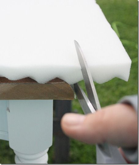 Use mattress pad instead of expensive foam for DIY bench cushion!