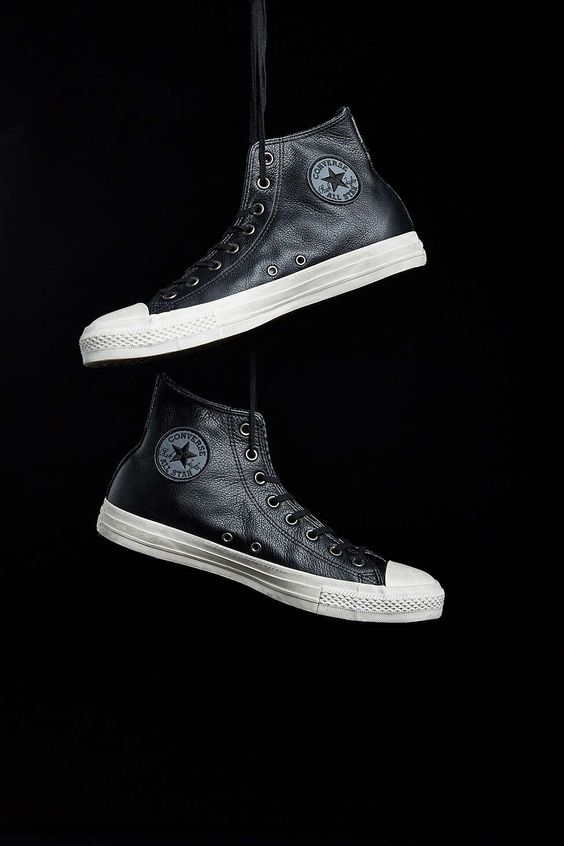 converse leather sneakers in black converse converse. Black Bedroom Furniture Sets. Home Design Ideas