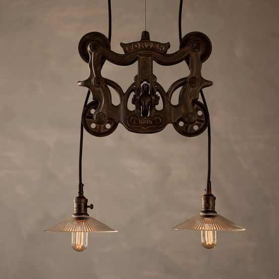 Rustic Light Industrial Chandelier Rope Pulley By: If You Like This Then Check Out My Shop For One Of A Kind
