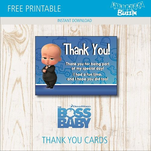 Free Printable Boss Baby Thank You Cards Birthday Buzzin Baby Thank You Cards Baby Boy 1st Birthday Party Baby Birthday Party Theme