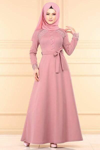 Modaselvim Elbise Dantel Detay Tesettur Elbise Pl828 Pudra Elbise The Dress Elbiseler
