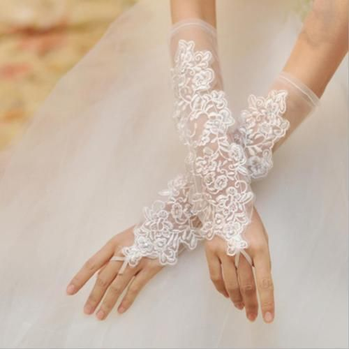 Elegant Sheer Lace Appliques Fingerless Bridal Gloves Wedding Prom Accessories