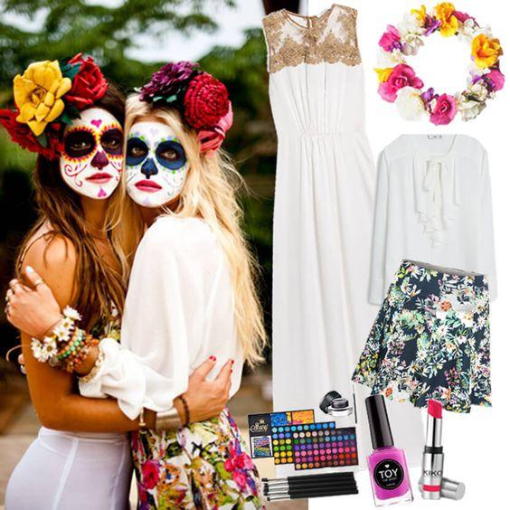La Catrina Éste disfraz propio de la cultura mexicana representa la muerte de una forma muy alegre y diferente. Con un buen maquillaje y una corona de flores lo conseguirás crear muy fácilmente.