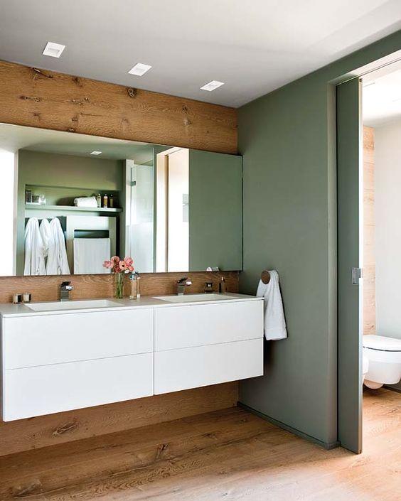 salle de bain vert amande