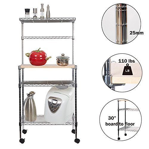 Lucky Tree 49 Tall 4 Tire Rolling Baker Rack Kitchen Microwave